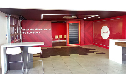 The project included wall coverings and aftersales signage.