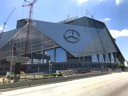 Principle applied the Mercedes name and more 'star' logos to both the interior and exterior of the stadium.