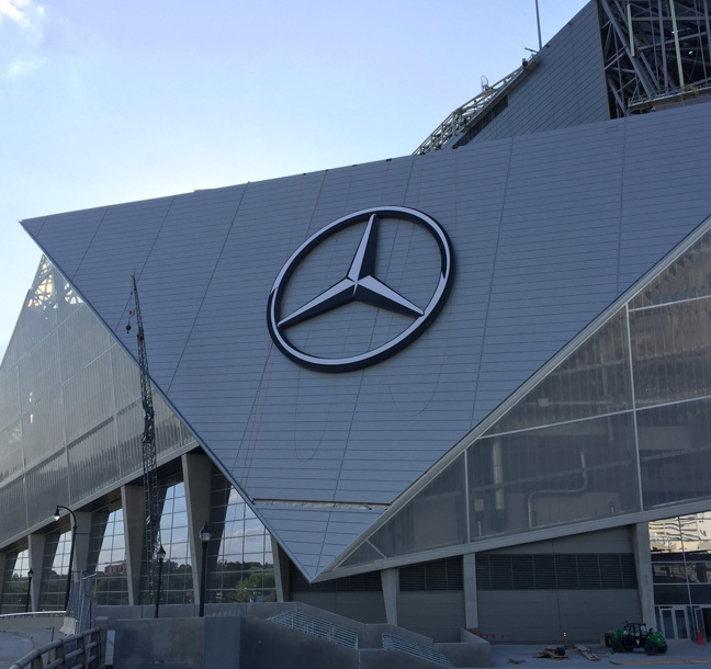 Principle design and install 66ft Mercedes 'stars' at Atlanta Falcons stadium