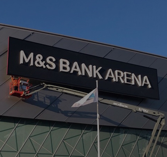 New signage for M&S Bank Arena by Principle
